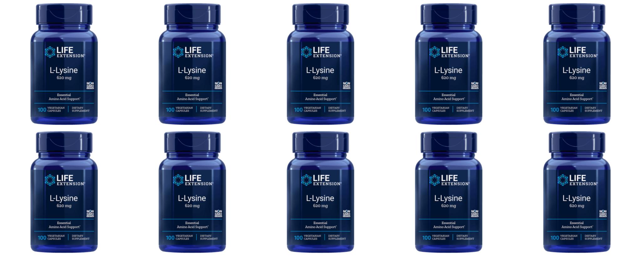 Life Extension L-Lysine, 620 Mg 100 Vegetarian Capsules, 10-pack