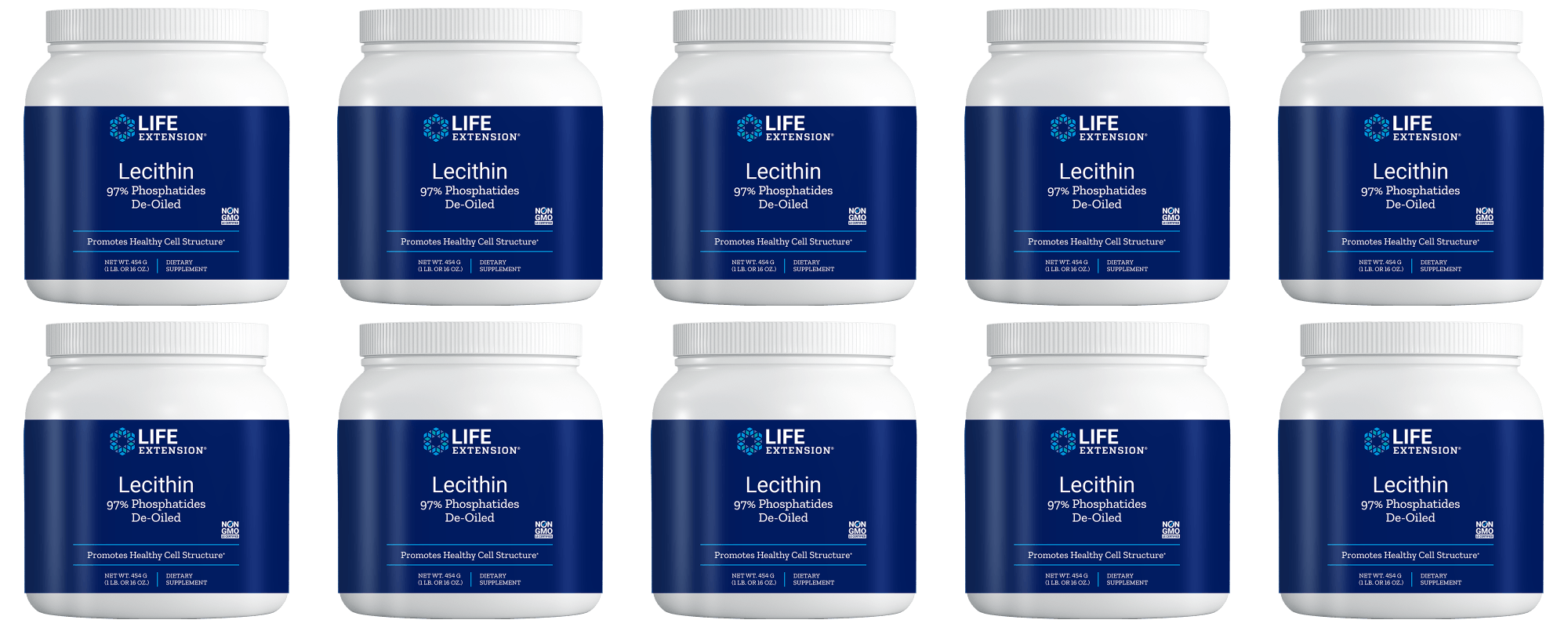 Life Extension Lecithin (97% Phosphatides De-oiled), 454 Grams, 10-pack
