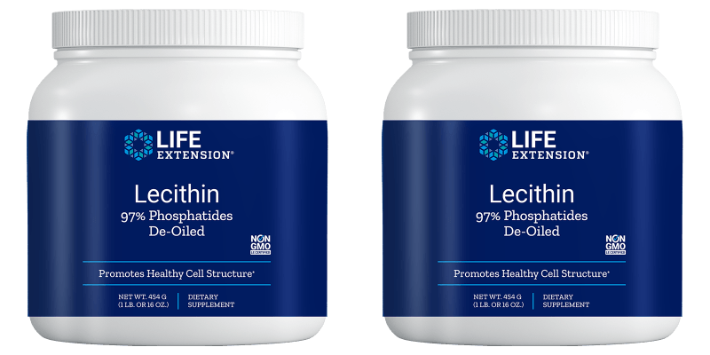 Life Extension Lecithin (97% Phosphatides De-oiled), 454 Grams, 2-pack