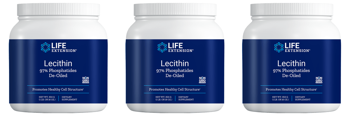 Life Extension Lecithin (97% Phosphatides De-oiled), 454 Grams, 3-pack