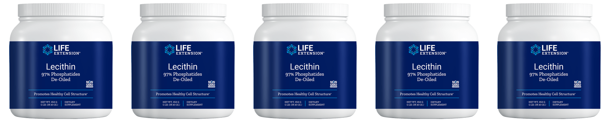 Life Extension Lecithin (97% Phosphatides De-oiled), 454 Grams, 5-pack