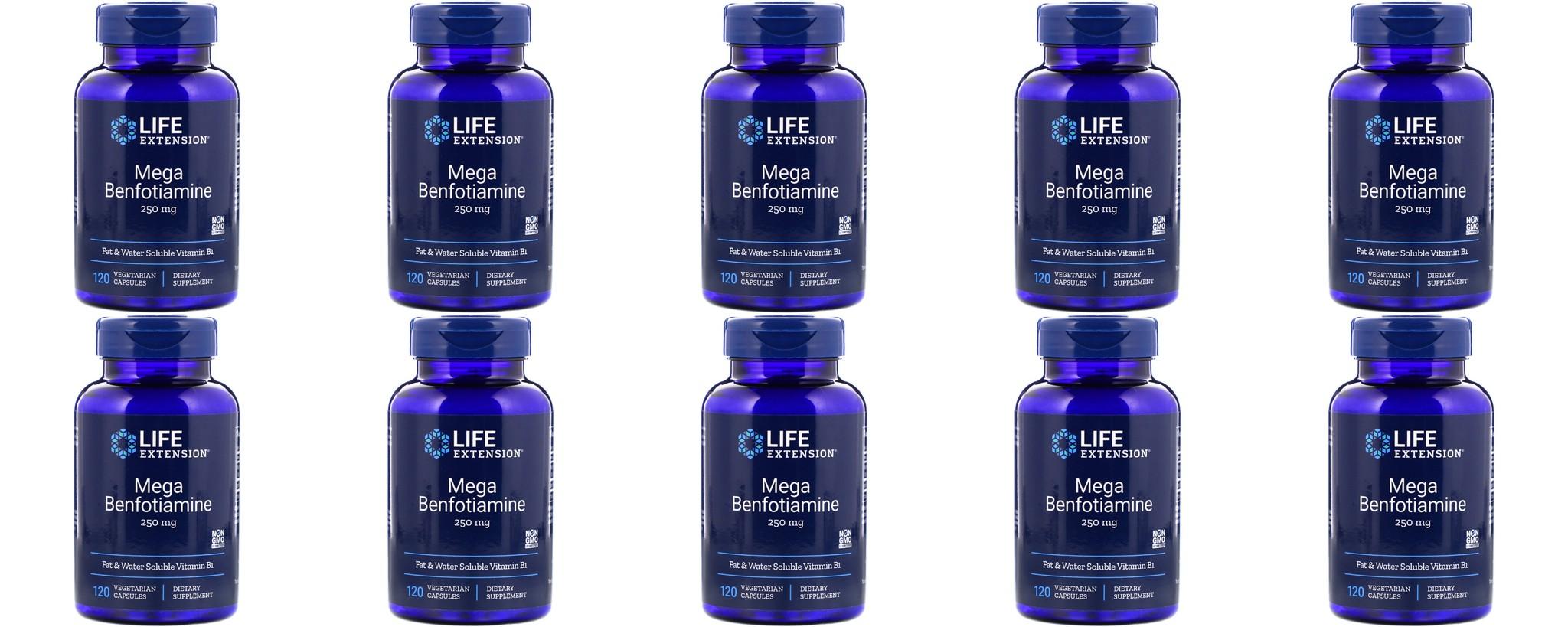 Life Extension Mega Benfotiamine, 250 Mg, 120 Vegetarian Capsules, 10-packs