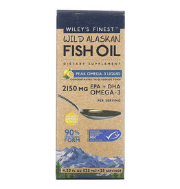 Wiley's Finest Wild Alaskan Fish Oil, Peak Omega-3 Liquid, Natural Lemon Flavor, 2,150 Mg, 4.23 Fl Oz (125 ml)