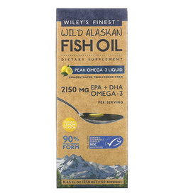 Wiley's Finest Wild Alaskan Fish Oil, Peak Omega-3 Liquid, Natural Lemon Flavor, 2,150 Mg, 8.45 Fl Oz (250 ml)
