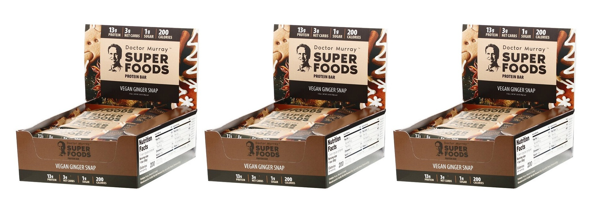 Dr. Murray's Superfoods Protein Bars, Vegan Protein Combo Pack, 12 Bars, 2.05 Oz (58 G) Each, 3-packs
