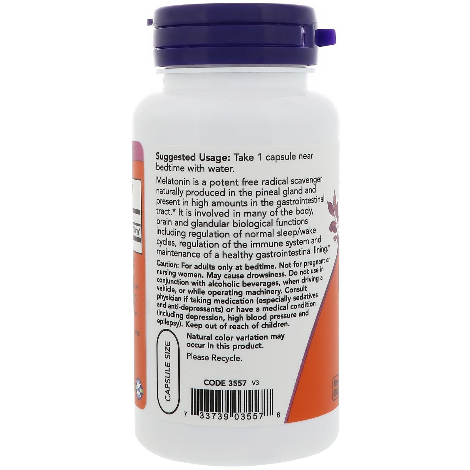 Now Foods Extra Strength Melatonin, 10 Mg, 100 Veg Capsules