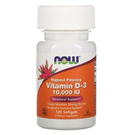 Now Foods Highest Potency Vitamin D-3, 250 mcg (10,000 IU), 120 Softgels