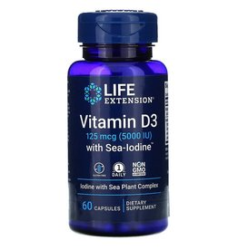 Life Extension Vitamin D3, 5,000 IU with Sea-Iodine, 60 Capsules