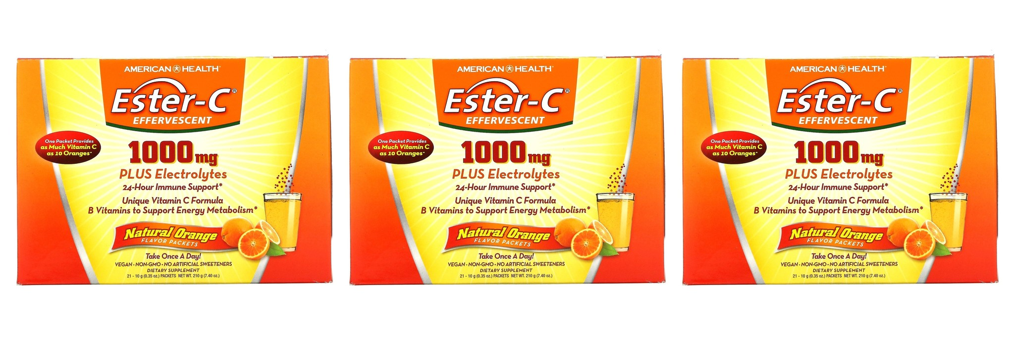 American Health Ester-C Effervescent, Natural Orange Flavor, 1,000 mg, 21 Packets, 0.35 Oz (10 g) Each, 3-packs