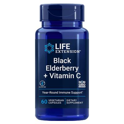 Life Extension Black Elderberry + Vitamin C, 60 Vegetarian Capsules