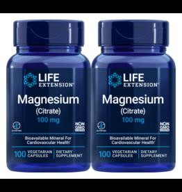 Life Extension Magnesium (Citrate), 100 mg 100 Vegetarian Capsules, 2-pack