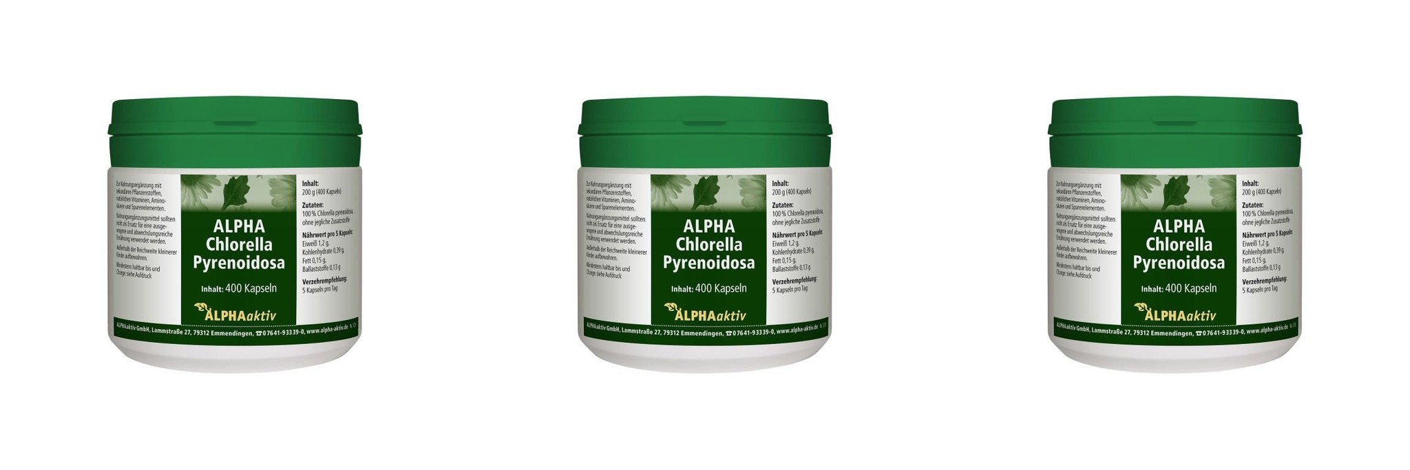 ALPHAaktiv ALPHA-Chlorella Pyrenoidosa, 400 Kapseln, 200 g., 3-packs