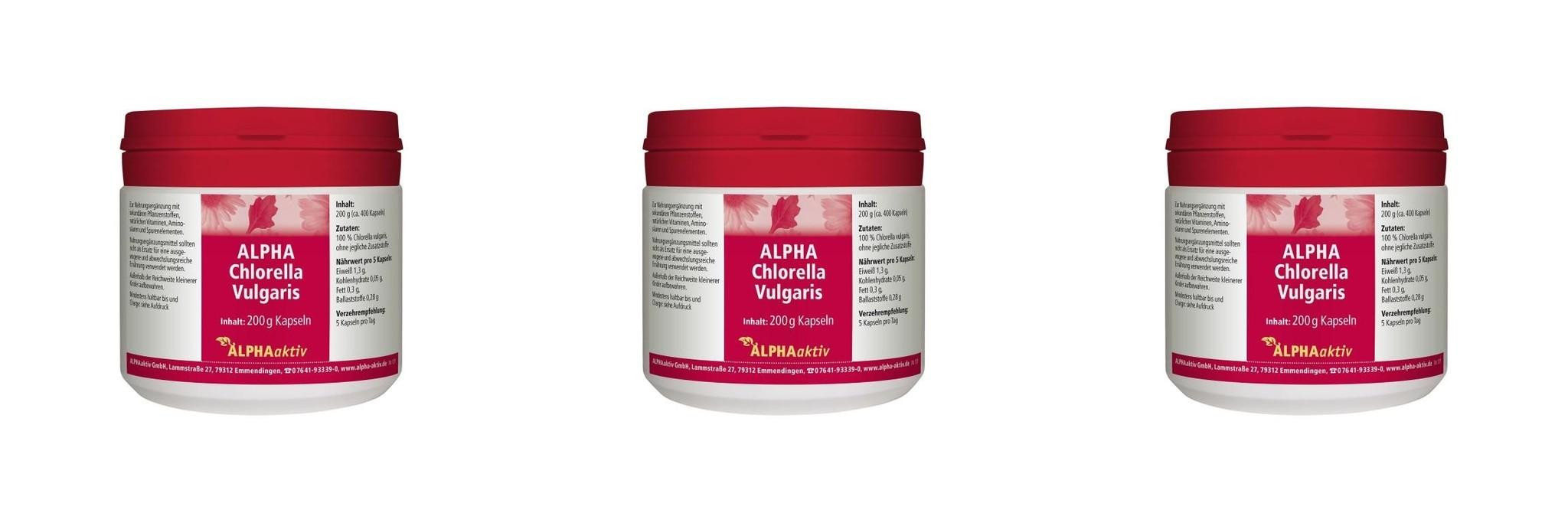 ALPHAaktiv ALPHA Chlorella Vulgaris, 200 g., 3-packs