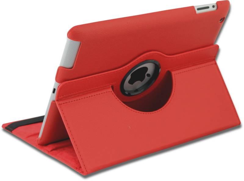 iPad Hoes 360° Draaibaar Leer Rood. Voor de iPad 2, iPad 3 en iPad 4.
