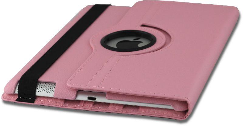 iPad Hoes 360° Draaibaar Leer Roze. Voor de iPad 2, iPad 3 en iPad 4.