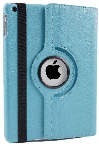 iPad Hoes 360° Draaibaar Leer Blauw. Voor iPad Mini 1, 2 en 3.