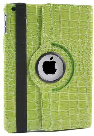 iPad Hoes 360° Draaibaar Krokodillenleer Groen. Voor de iPad Air.