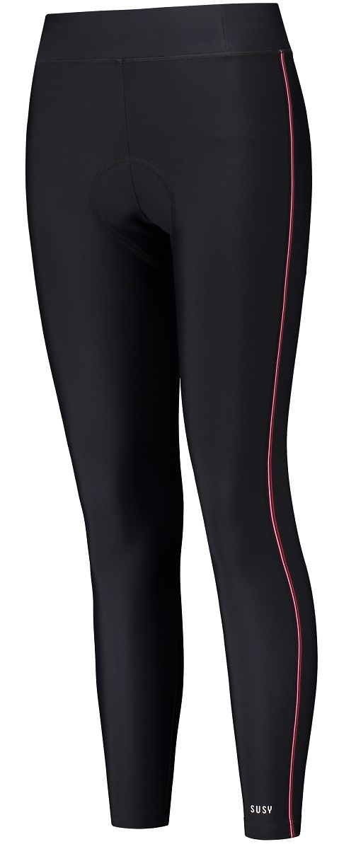 lange dames fietsbroek zwart pink