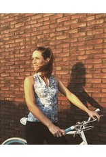 Women's Cycling Sleeveless top blue marble print