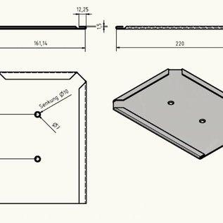 Porte-bouclier Boîte à chevaux en acier inoxydable 160x220 de 1,5mm, brossée à l'extérieur K320 - 170126_10P0101