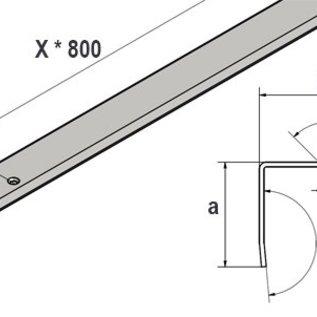 Versandmetall hoekprofiel voor den inrit van Garages 20mm met boorgaten ongelijk gezet 90° lengte 2500 mm