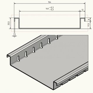 Versandmetall Drainagerinne aus Aluminium Einlaufbreite 140mm Bestellmengen 10m, 20m, 30m, 40m, 50m