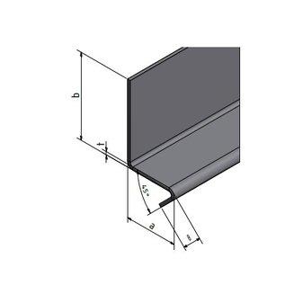RVS rand met 7 cm legbord 1.4301, t = 1,5 mm axbxL 70x200x2000mm Binnen IIID spiegel gepolijst of SChliff K320