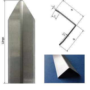 Versandmetall Hoekbeschermer modern 3-voudig gerand, voor wanden hoeken en randen 40x40 lengte 1250 mm K320