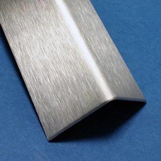 Versandmetall - Edelstahlwinkel ungleichschenkelig 90° 20x25x1,0mm Länge 2500 mm außen mit Schliff Korn 320