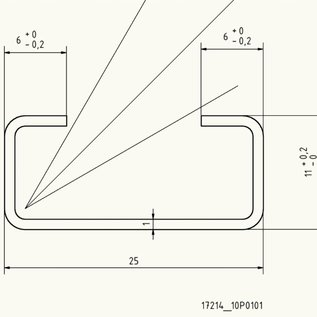 Versandmetall - 10er set C-Profil klein 1,0mm H= 11mm Breite 25mm L=2000mm Edelstahl