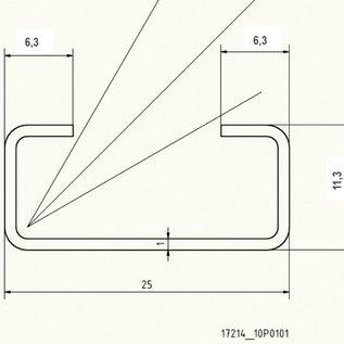 Versandmetall RVS C-Profiel klein dikte 1,0 mm hoogte 15mm Breedte 25mm Lengte van 1000mm tot 2500 mm Roestvrij Staal