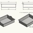 Versandmetall Kuip RVS Bak Spoelback dikte 1,5mm hoogte 200mm, axb 600x400 mm, oppervlakke BINNENZIJDE geborsteld, gelast en gebeitst met beugelhandvat