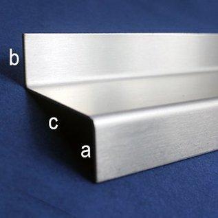 Versandmetall Druipplaat, dakranden sheet, 1,0mm, bxcxa025x75x15mm, lengte 2000mm, Boorgat d=6mm, eeinzijds geborsteld