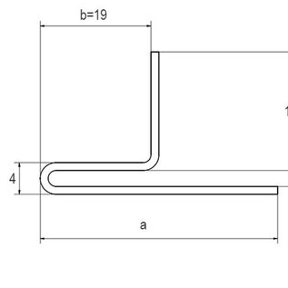 Versandmetall Klemmprofil 2 Spalt 2mm Edelstahl a/b 15/30mm t= 1,0mm Länge 2000 mm, außen Schliff K320