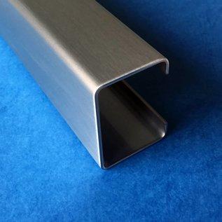 Versandmetall C-Profil klein gebürstet, Höhe 15mm Breite c= 30mm Länge 1000 -2500mm aus 1,5mm Edelstahl K320