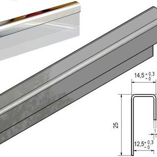 Versandmetall Glasrandprofiel Eindprofiel   glanzend 1,0 mm vor 12,5 mm Glas of Gipsplaat onglijk gezet