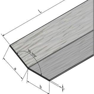 Versandmetall Hoekprofiel, L-Profiel, 1,5mm, buiten geborsteld, axb 200x150mm, lengte2500mm, gevouwen 135°