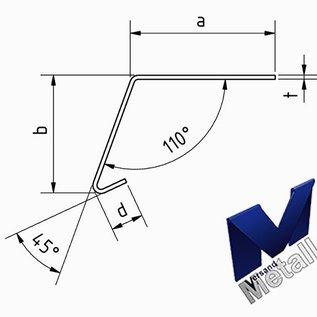 Versandmetall Hoekprofiel 110° met druiprand binnen dikte 1,0 of 1,5 mm 20 mm tot 70 mm Lengte tot 2500 mm  Oppervlake geschuurd(grid320)