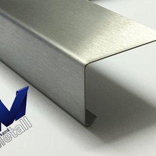 Versandmetall Corniere 90° avec larmier à l'intérieur 1,0 jusqu'à 1,5mm, 20 jusqu'à 70mm, L jusqu'à 2500mm brossé  en grain 320
