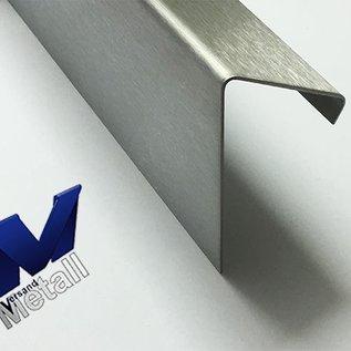 Versandmetall Corniere  60° avec larmier à l'intérieur 1,0 jusqu'à 1,5mm, 20 jusqu'à 70mm, L jusqu'à 2500mm surface brossé en grain320