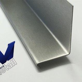 Versandmetall Corniere 90° avec larmier à l'avant 1,0 jusqu'à 1,5mm, 20 jusqu'à 70mm, L jusqu'à 2500mm brossé en grain320
