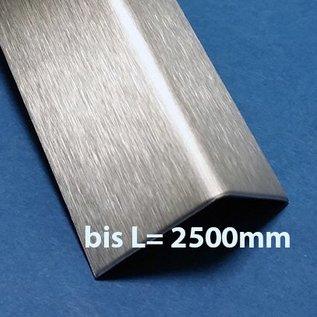 Versandmetall RVS 304 Hoekprofiel Hoeklijn Hoekstrip ongelijkzijdig gezet 2,0mm axb 20x90 x 2mm Lengte 2500 mm Oppervlakke geschuurd(gris320)
