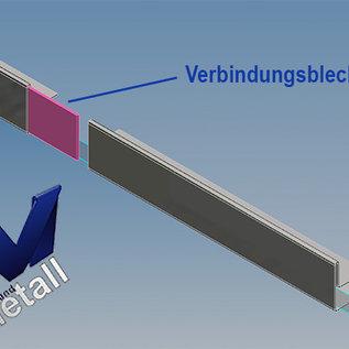Versandmetall Gouttière de toit vitré 13mm, pour verre de sécurité feuilleté de 12 ou 12,52mm, acier inoxydable 1.4301, surface brossé  en grain320
