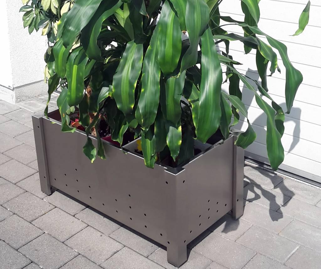 Bloemen In Pot.Bloemen Pot Plantenbak Roestvrij Staal Met 2 Plastic Insetstukken