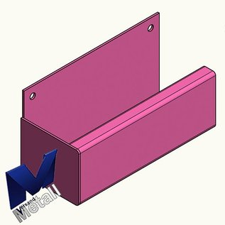 Versandmetall Goot Bakgoot P1 Eindstuk links roestvrij staal 1.4301 buitenzijde geschuurd(grid320)