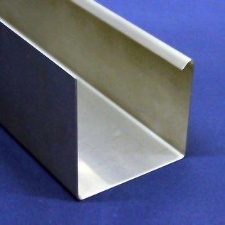 Versandmetall Regenrinne P1 - Endstück links mit Ablaufstutzen - aus Edelstahl 1.4301 außen Schliff K320