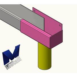 Versandmetall Gouttière de pluie inox forme P1 - extrémité droite avec drain - acier inoxydable surface brossè en grain 320