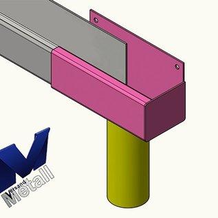 Versandmetall Gouttière de pluie P1 - extrémité droite avec drain - acier inoxydable  surface brossè en grain 320