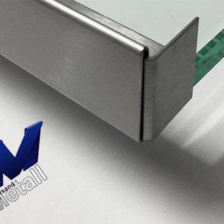 Versandmetall dakgoot Roestvrij Staal vor glasdakken 13mm buiten voor veiligheidsglas van 18mm of 17,52mm Materiaal 1.4301,Geschuurd(grid320)