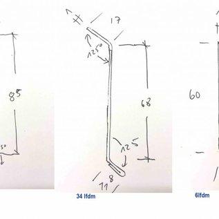 Versandmetall - 46 lfdm Sockel/Abschlussleisten gefalzt aus 1 mm Alu antrazit ( 7016 ) 3x 2m Profil 85mm - 17x 2m Profil 68mm - 3x 2m Profil 60mm nach Skizze